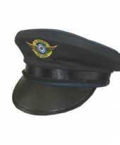Piloten hoeden met blauwe rand trend