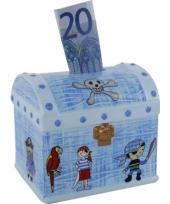 Piraten schatkist spaarpot blauw trend