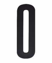 Plakcijfer 0 zwart 10 cm trend