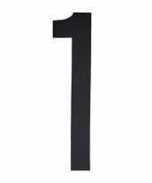 Plakcijfer 1 zwart 10 cm trend