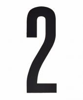 Plakcijfer 2 zwart 10 cm trend