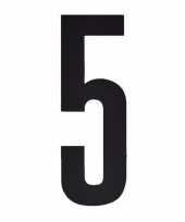 Plakcijfer 5 zwart 10 cm trend