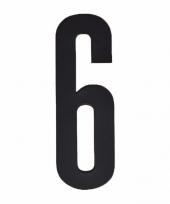 Plakcijfer 6 zwart 10 cm trend