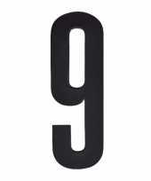 Plakcijfer 9 zwart 10 cm trend