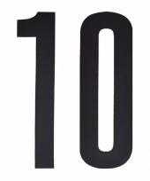 Plakcijfers 10 zwart 10 cm trend