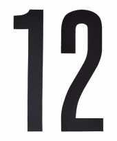 Plakcijfers 12 zwart 10 cm trend