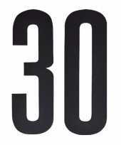 Plakcijfers 30 zwart 10 cm trend