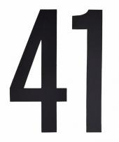 Plakcijfers 41 zwart 10 cm trend