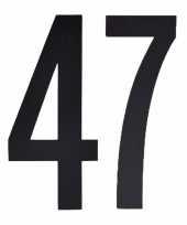 Plakcijfers 47 zwart 10 cm trend