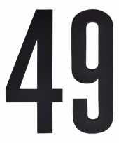 Plakcijfers 49 zwart 10 cm trend