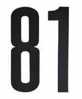 Plakcijfers 81 zwart 10 cm trend