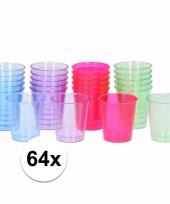 Plastic bekertjes weggooiservies 64 stuks trend