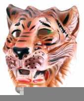 Plastic bruine tijger masker voor volwassenen trend