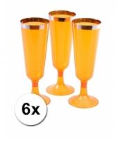 Plastic champagne glazen oranje 6 stuks trend
