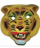 Plastic gele tijger masker voor volwassenen trend