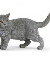 Plastic grijze huisdier kat 4 4 5 cm trend