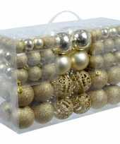 Plastic kerstballen goud 100 x trend