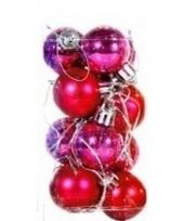 Plastic kerstballen roze 12 stuks 3 cm trend