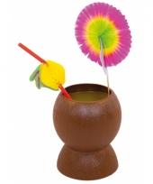 Plastic kokosnoot beker bruin trend
