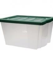Plastic opbergbox met groene deksel trend
