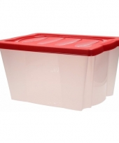 Plastic opbergbox met rode deksel trend