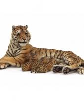 Plastic speelgoed tijger met zogende welpjes 13 cm trend