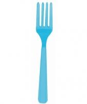 Plastic vorken turquoise 10 stuks trend