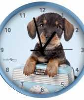 Plastic wandklok dachshund 25 cm trend