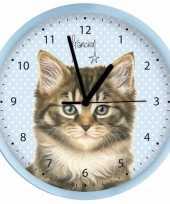 Plastic wandklok katten 25 cm trend