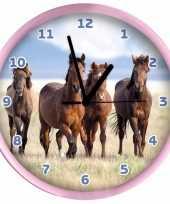 Plastic wandklok paarden 25 cm trend