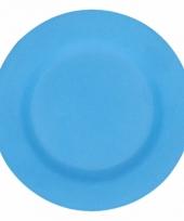 Plat stevig ontbijtbord voor kinderen blauw 17 5 cm trend