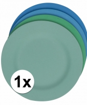 Plat stevig ontbijtbord voor kinderen blauw 19 8 cm trend
