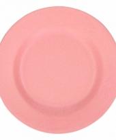 Plat stevig ontbijtbord voor kinderen roze 17 5 cm trend