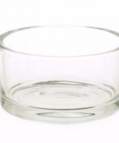 Platte ronde vaas schaal 15 cm van glas trend