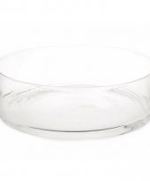 Platte ronde vaas schaal 37 cm van glas trend