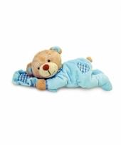 Pluche blauwe beer met kussen 15 cm trend