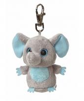 Pluche blauwe olifanten sleutelhanger 7 5 cm trend