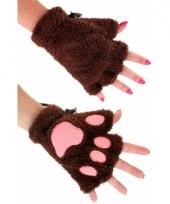 Pluche dierenpoot handschoenen donkerbruin trend