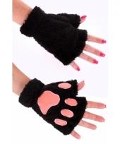 Pluche dierenpoot handschoenen zwart trend