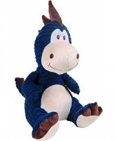 Pluche dino knuffel blauw 32 cm trend