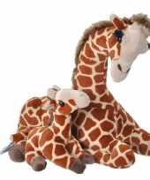 Pluche gevlekte giraffe met baby knuffel 38 cm speelgoed trend