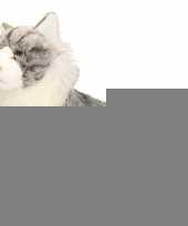 Pluche grijze katten knuffel 35 cm trend 10059405