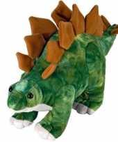 Pluche groen bruine stegosaurus dinosaurus knuffel mega 25 cm trend