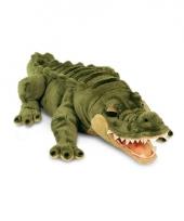Pluche groene liggende alligator krokodil knuffel 66cm trend