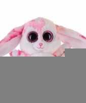 Pluche haas konijn knuffeltje roze 15 cm trend