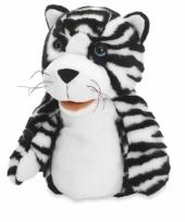 Pluche handpop tijger zwart wit trend