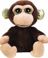 Pluche knuffel aap 12 cm met glitter oren trend