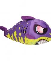 Pluche knuffel haai paars geel 24 cm trend