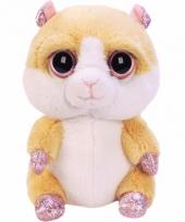 Pluche knuffel hamster zittend 15 cm trend