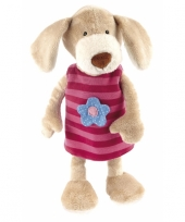Pluche knuffel hond met roze jurkje 40 cm trend